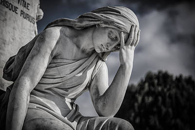 Pensive Angel At Heredia Cemetery Print by Andres Leon