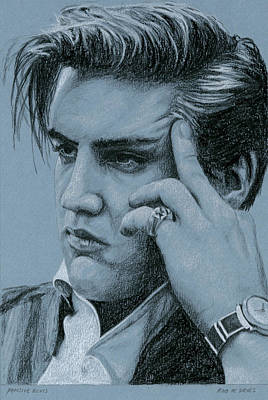 Singer Drawing - Pensive Elvis by Rob De Vries