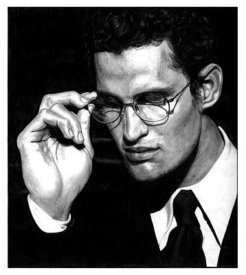 Black Tie Drawing - Pensive Man With Glasses by Artistic Photos