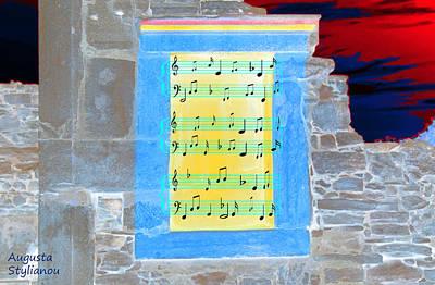 Pentagram Window At Apollo Sactuary Print by Augusta Stylianou