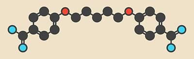 Pentamidine Antimicrobial Drug Molecule Print by Molekuul