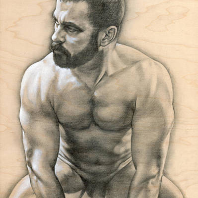 Male Nude Drawing Drawing - Penumbra 3 by Chris  Lopez