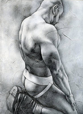Male Nude Drawing Drawing - Penumbra by Chris  Lopez