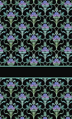 Peony Damask On Black Print by Jenny Armitage