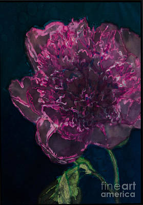 Peony On Black Print by Kathy Goodson