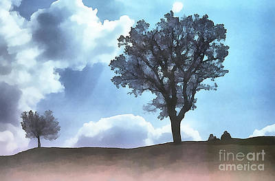 Glass Of Wine Painting - People And Trees Silhouette by Odon Czintos