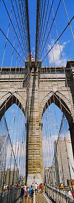 People At A Suspension Bridge, Brooklyn Print by Panoramic Images