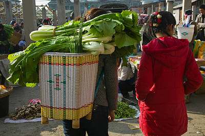 People At A Vegetable Market, Xizhou Print by Panoramic Images