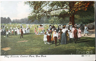 People At The Playground In Central Park Circa 1910  Print by Patricia Hofmeester