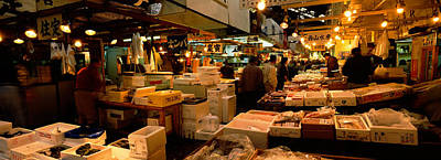 Food Stores Photograph - People Buying Fish In A Fish Market by Panoramic Images
