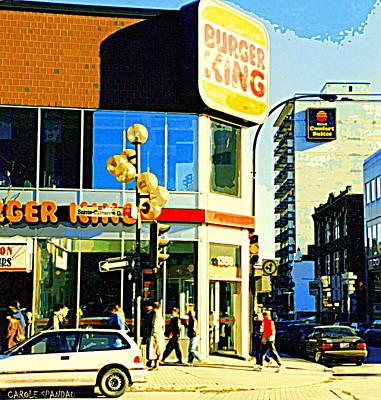 Restaurants Painting - People Enjoy Beautiful Downtown Sainte Catherine Burger King Peel Scene By Hotel Comfort Suites by Carole Spandau