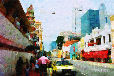 Local Attraction Painting - People Going By The Old Singapore Street With Yellow Taxi Cab At The Front Stage Painting by George Fedin and Magomed Magomedagaev