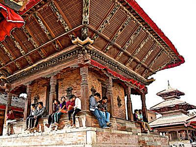 Hangout Digital Art - People Hangout In  Kathmandu Durbar Square-nepal     by Ruth Hager