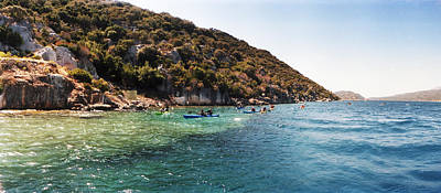 The Edge Photograph - People Kayaking In The Mediterranean by Panoramic Images