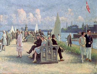 Danish Photograph - People On A Promenade Oil On Canvas by Paul Fischer