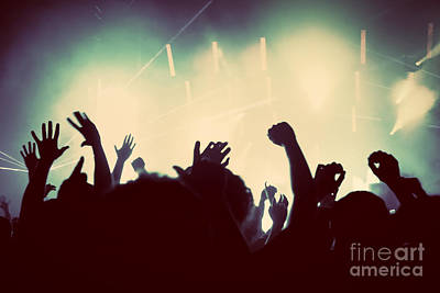 Instrument Photograph - People On Music Concert Disco Party by Michal Bednarek