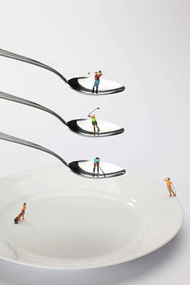Micro Miniature Painting - People Playing Golf On Spoons Little People On Food by Paul Ge