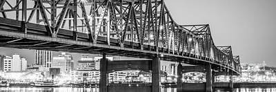 Peoria Il Panorama Black And White Picture Print by Paul Velgos