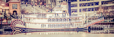 Water Filter Photograph - Peoria Riverboat Vintage Panorama Photo by Paul Velgos