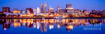 Riverfront Photograph - Peoria Skyline At Night Panorama Photo by Paul Velgos
