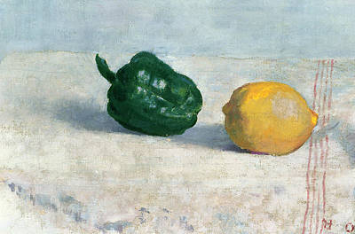 Pepper And Lemon On A White Tablecloth Print by Odilon Redon