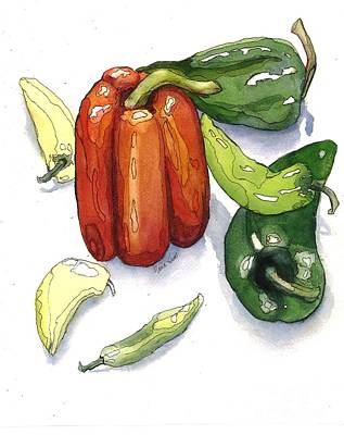 Pepper Painting - Pepper Fiesta II by Maria Hunt