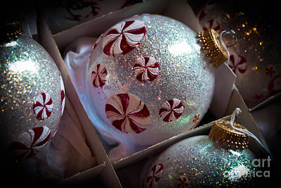 Peppermint Pinwheel Ornaments Print by Joann Copeland-Paul