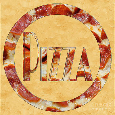 Pepperoni Pizza Typography 4 Print by Andee Design