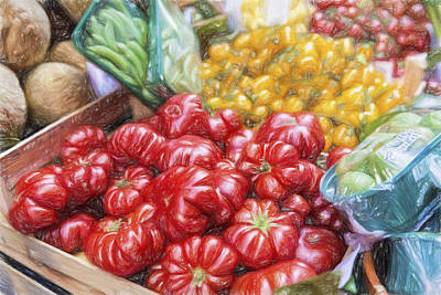 Vegetable Market Drawing - Peppers by Terry J Alcorn