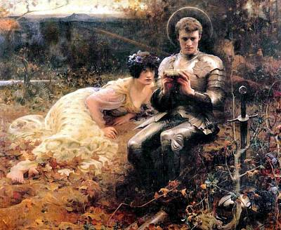 Percival With The Grail Print by Arthur Hacker