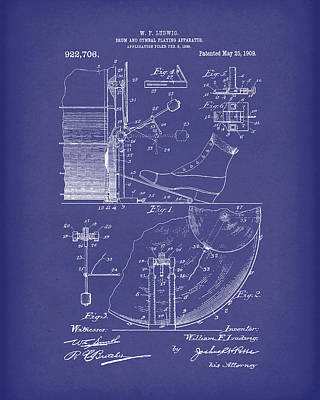 Drum Drawing - Percussion System 1909 Patent Art Blue by Prior Art Design