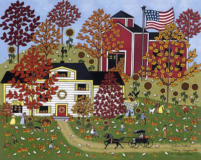 Picking Pumpkins Painting - Percy's Pumpkin Patch by Medana Gabbard