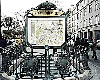 Ornate Photograph - Paris Pere Lachaise Metro Station Map And Pere Lachaise Art Nouveau Architecture by Kathy Fornal