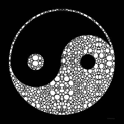 Yin Yang Painting - Perfect Balance 2 - Yin And Yang Stone Rock'd Art By Sharon Cummings by Sharon Cummings