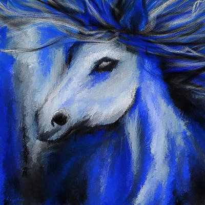 Perfect Blue- Gray And Blue Painting Print by Lourry Legarde
