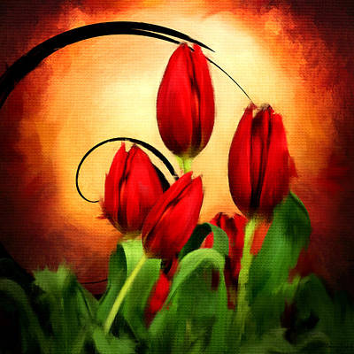 Perfect Gift Of Love- Red Tulips Paintings Print by Lourry Legarde