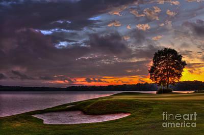 Perfect Golf Sunset In Reynolds Plantation Print by Reid Callaway