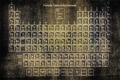 Lab Digital Art - Periodic Table Of The Elements Vintage Blackboard by Eti Reid