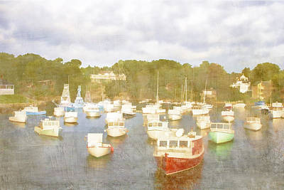 Maine Shore Photograph - Perkins Cove Lobster Boats Maine by Carol Leigh