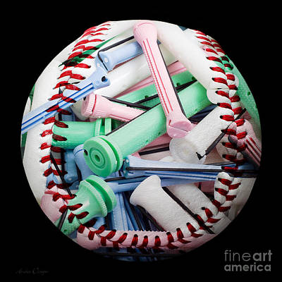 Perm Rods Baseball Square Print by Andee Design
