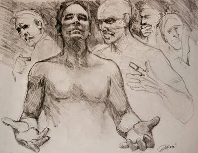 Religious Drawing - Persecution Sketch by Jani Freimann