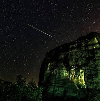 Perseid Meteor Track Over Meteora Print by Babak Tafreshi