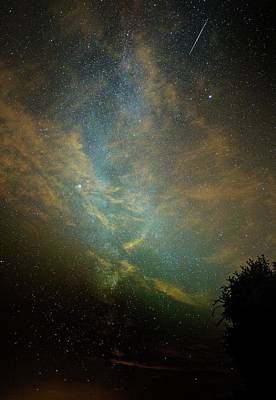Perseid Meteor Trail In The Night Sky Print by Chris Madeley