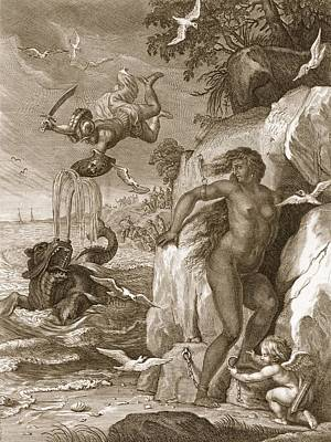 Perseus Delivers Andromeda From The Sea Print by Bernard Picart