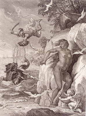 Perseus Delivers Andromeda From The Sea Monster Print by Bernard Picart