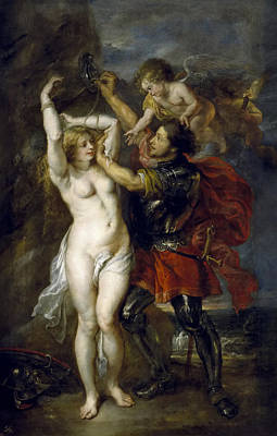 Jacob Jordaens Painting - Perseus Freeing Andromeda by Peter Paul Rubens and Jacob Jordaens