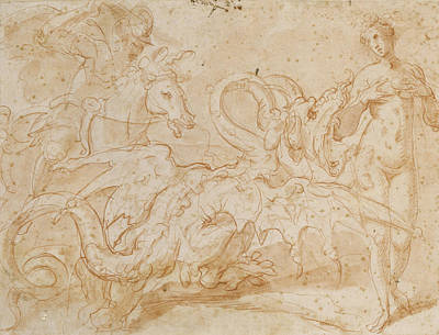 Pegasus Photograph - Perseus Rescuing Andromeda Red Chalk On Paper by or Zuccaro, Federico Zuccari
