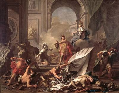 Gorgon Photograph - Perseus, Under The Protection Of Minerva, Turns Phineus To Stone By Brandishing The Head Of Medusa by Jean-Marc Nattier