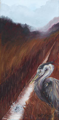 Bird Painting - Perseverance Blue Heron by Eve McCauley
