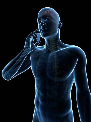Person Using Cell Phone Print by Sebastian Kaulitzki